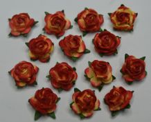 50 RED YELLOW Mulberry Paper Roses (only flower head)